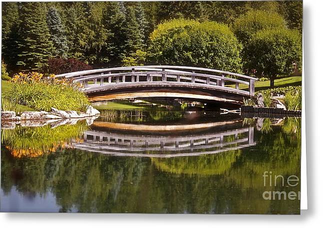 Red Rock Crossing Greeting Cards - Garden Bridge Greeting Card by Linda Bianic