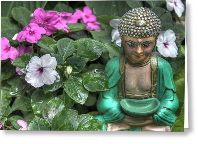 Inpatients Greeting Cards - Garden Buddha Greeting Card by Jane Linders