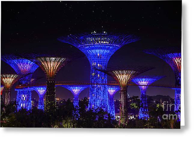 Artificial Flowers Greeting Cards - Garden by the bay Greeting Card by Anek Suwannaphoom