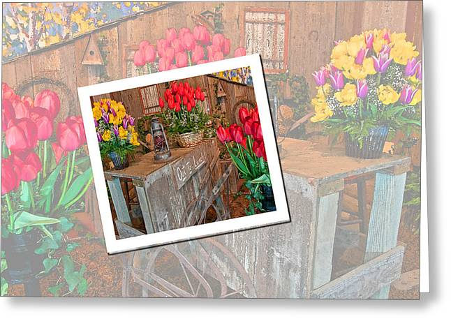 Shed Digital Art Greeting Cards - Garden Cart Out To Lunch Greeting Card by Valerie Garner