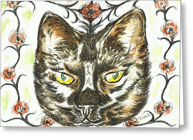 Sit-ins Mixed Media Greeting Cards - Garden Cat Greeting Card by Teresa White