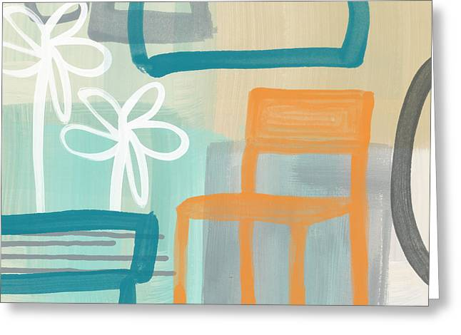 Blue-gray Greeting Cards - Garden Chair Greeting Card by Linda Woods