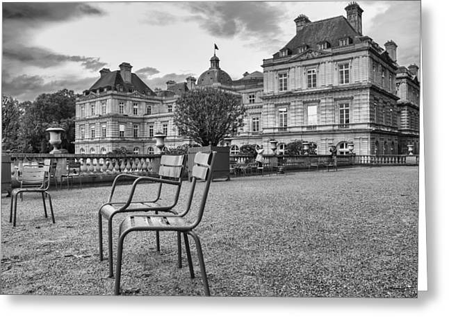 Garden Chairs - Luxembourg Palace Greeting Card by Georgia Fowler