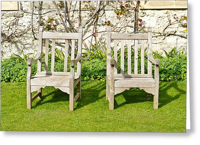 Weekend Photographs Greeting Cards - Garden chairs Greeting Card by Tom Gowanlock