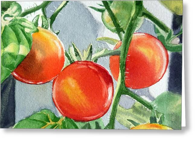 Garden Cherry Tomatoes  Greeting Card by Irina Sztukowski