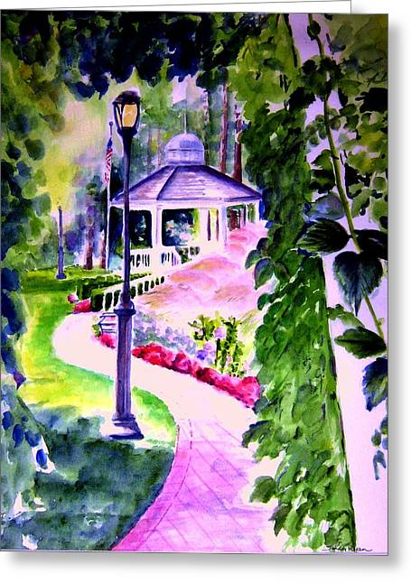 Park Scene Paintings Greeting Cards - Garden City Gazebo Greeting Card by Sandy Ryan