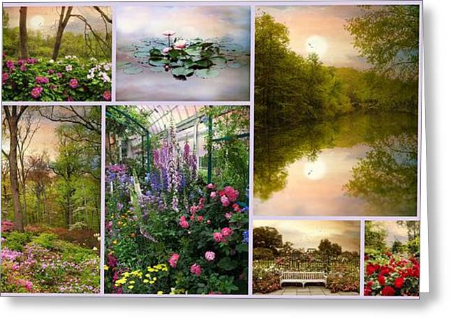 Botanical Greeting Cards - Garden Collage Greeting Card by Jessica Jenney
