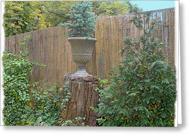 Bamboo Fence Greeting Cards - Garden Decor 2 Greeting Card by Muriel Levison Goodwin