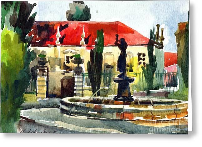 Anna Lobovikov-katz Greeting Cards - Garden Do Torel Fountain in Lisbon Greeting Card by Anna Lobovikov-Katz