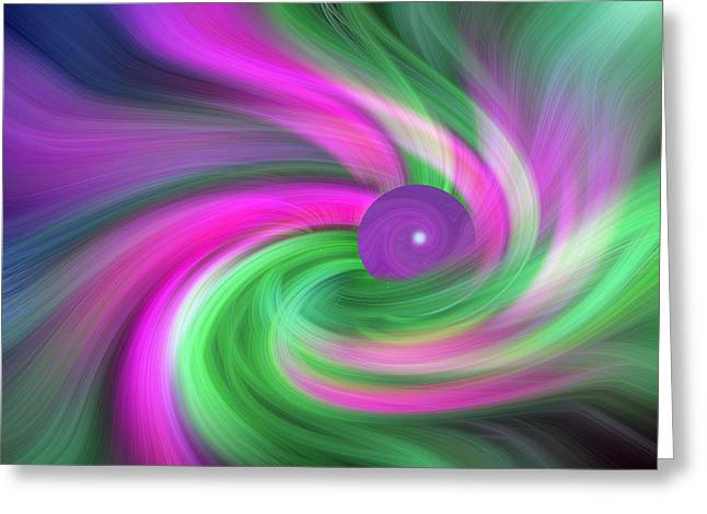 Curve Ball Greeting Cards - Garden Elements Abstract Greeting Card by Linda Phelps