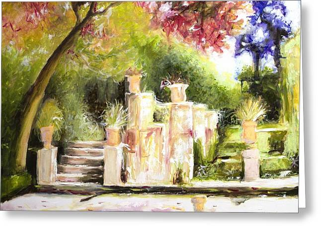 Sunlight On Pots Paintings Greeting Cards - Garden Entrance Greeting Card by Melissa Herrin