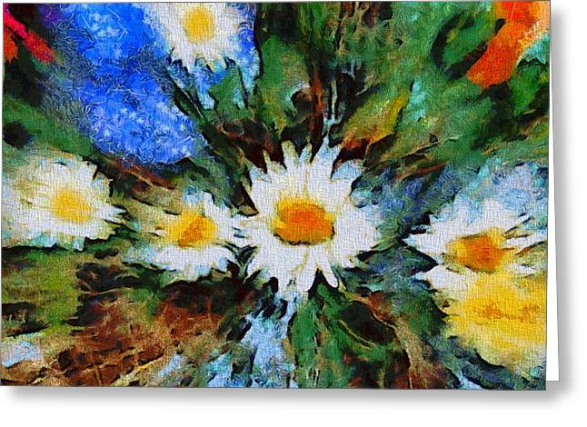 Daisies Mixed Media Greeting Cards - Garden Explosion Greeting Card by Dan Sproul