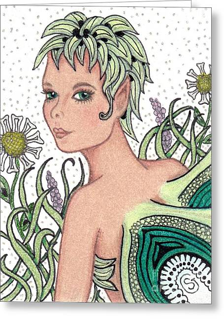 Aceo Original Drawings Greeting Cards - Garden Fairy - Check Out My Flowers Greeting Card by Sherry Goeben