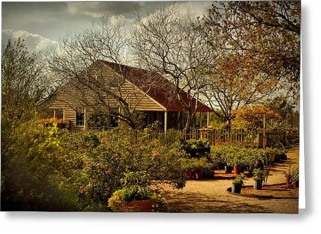 Garden Scene Greeting Cards - Garden Fantasy Greeting Card by Linda Unger