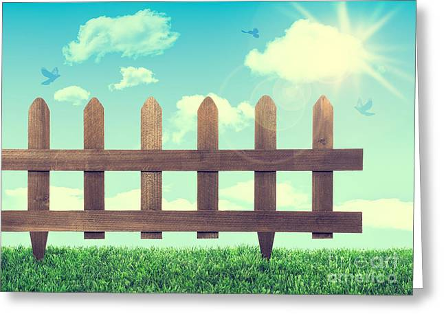 New Beginnings Greeting Cards - Garden Fence Greeting Card by Amanda And Christopher Elwell