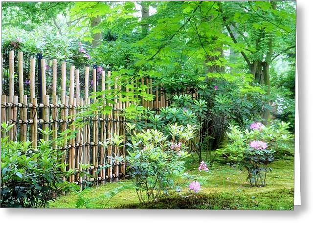 Bamboo Fence Greeting Cards - Garden Landscape Greeting Card by Ninie AG