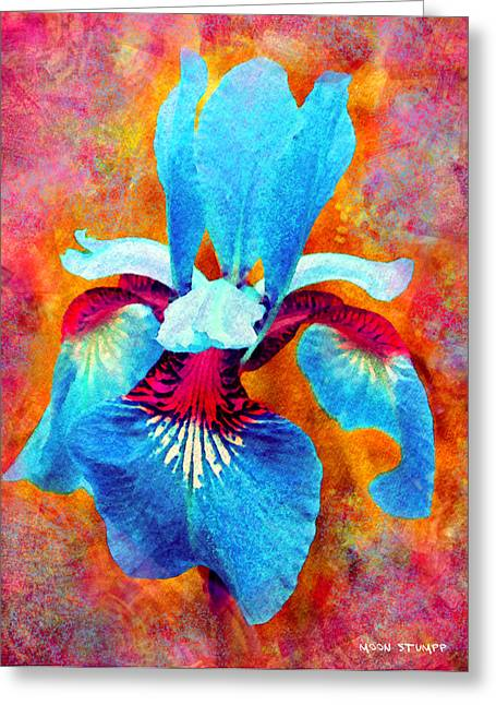 Blue Flowers Mixed Media Greeting Cards - Garden Fiesta Greeting Card by Moon Stumpp
