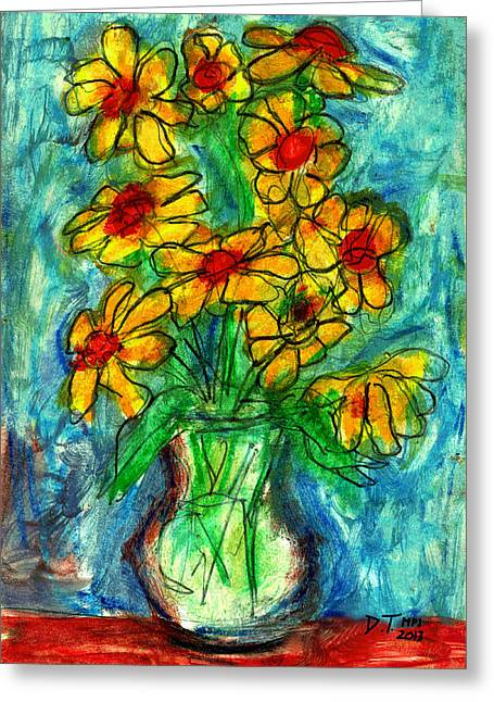 Don Thibodeaux Greeting Cards - Garden Flower Mono-print Greeting Card by Don Thibodeaux