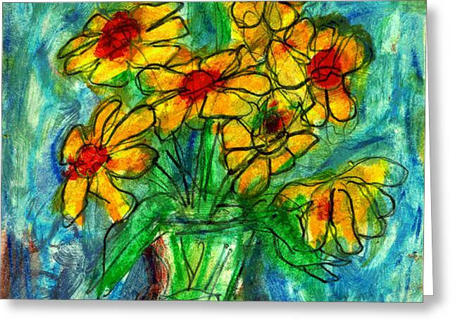 garden flower mono-print Greeting Card by Don Thibodeaux