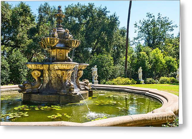 Three Tiered Fountain Greeting Cards - Garden Fountain - iconic fountain at the Huntington Library and Botanical Ga Greeting Card by Jamie Pham
