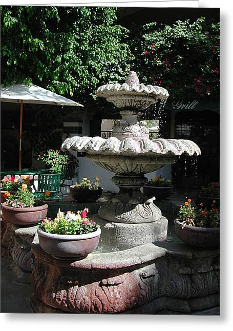 Fontain Greeting Cards - Garden Fountain Greeting Card by Pat Knieff