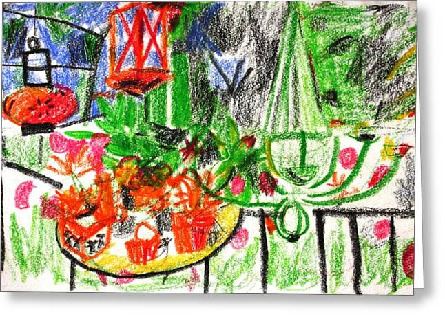 Potted Plants Drawings Greeting Cards - Garden Gala Greeting Card by Anita Dale Livaditis