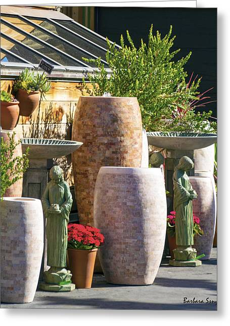 Stone Planter Greeting Cards - Garden Gallery Morro Bay  Greeting Card by Barbara Snyder