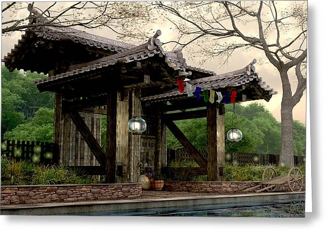 Japanese Garden Greeting Cards - Garden Gate Greeting Card by Cynthia Decker