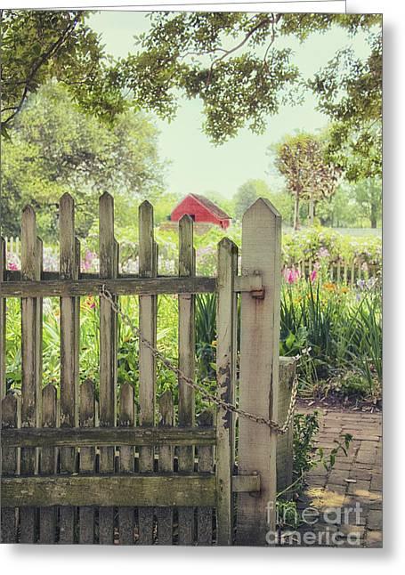Barn Yard Greeting Cards - Garden Gate Greeting Card by Margie Hurwich