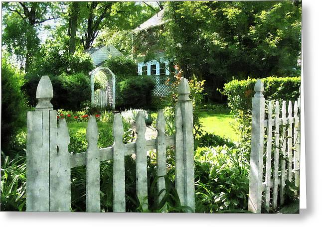 Suburb Greeting Cards - Garden Gate Greeting Card by Susan Savad