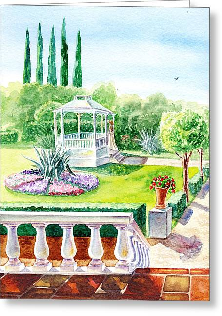 Red Geraniums Greeting Cards - Garden Gazebo Greeting Card by Irina Sztukowski