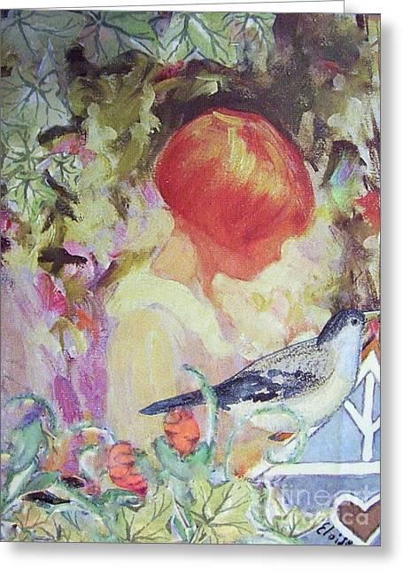 Garden Girl - Antique Collage Greeting Card by Eloise Schneider