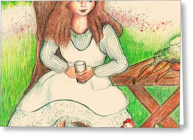 Garden Girl Taking A Break Greeting Card by Barbara LeMaster