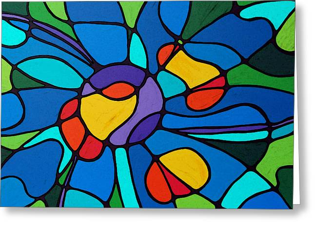 Garden Goddess - Abstract Flower by Sharon Cummings Greeting Card by Sharon Cummings