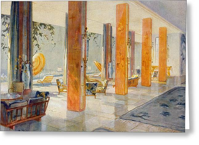 Hall Drawings Greeting Cards - Garden Hall Of A Hotel, 1929 Greeting Card by M. Stier