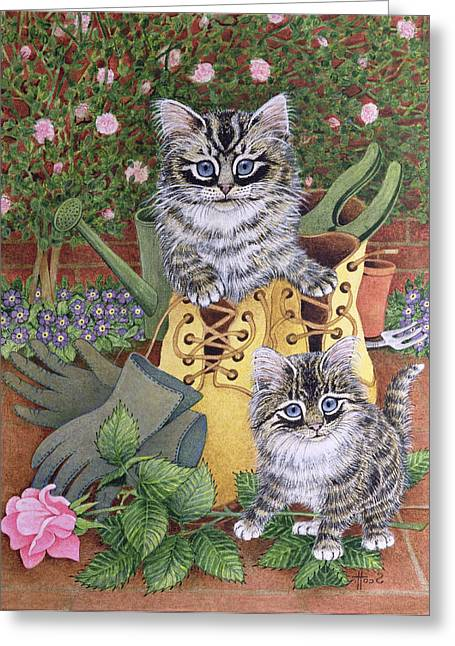 Puss Greeting Cards - Garden Helpers Oil On Canvas Greeting Card by Pat Scott