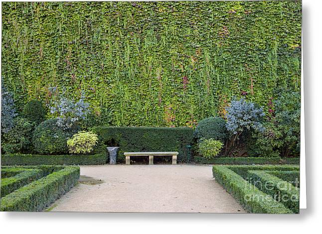 Park Benches Greeting Cards - Garden - Hotel de Sully Greeting Card by Brian Jannsen