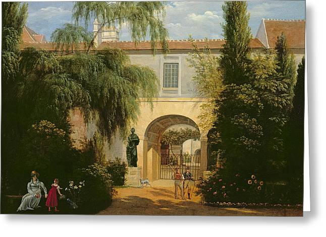 Talking Dog Greeting Cards - Garden In A Courtyard Oil On Canvas Greeting Card by Etienne Bouhot