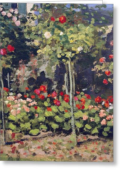 Rose Bushes Greeting Cards - Garden in Bloom Greeting Card by Claude Monet