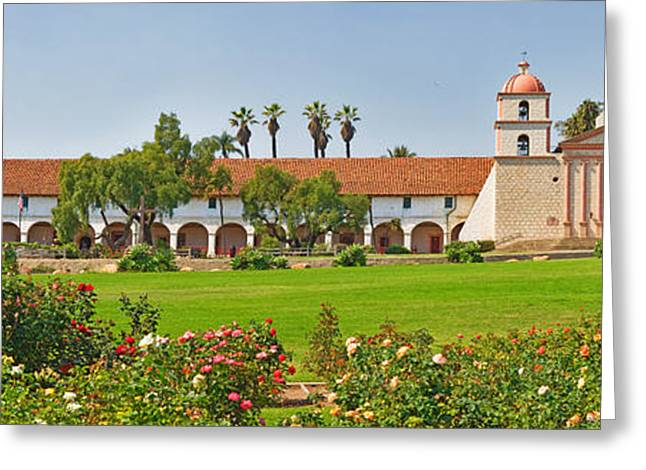 Mission Santa Barbara Greeting Cards - Garden In Front Of A Mission, Mission Greeting Card by Panoramic Images