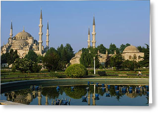 Garden Scene Photographs Greeting Cards - Garden In Front Of A Mosque, Blue Greeting Card by Panoramic Images