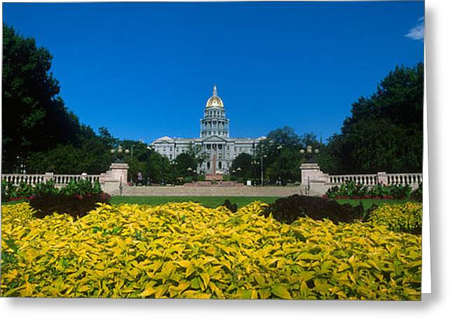 Capitol Greeting Cards - Garden In Front Of A State Capitol Greeting Card by Panoramic Images