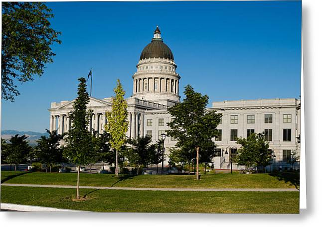 Capitol Hill Greeting Cards - Garden In Front Of Utah State Capitol Greeting Card by Panoramic Images