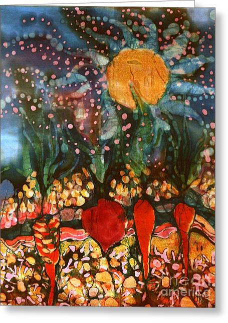 Outdoors Tapestries - Textiles Greeting Cards - Garden in Moonlight Greeting Card by Carol Law Conklin