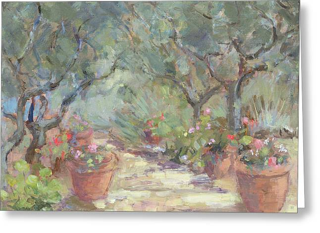 Geraniums Greeting Cards - Garden In Porto Ercole, Italy, 1996 Greeting Card by Karen Armitage