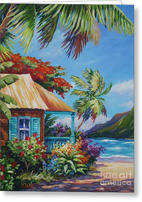 North Shore Paintings Greeting Cards - Garden Isle Greeting Card by John Clark