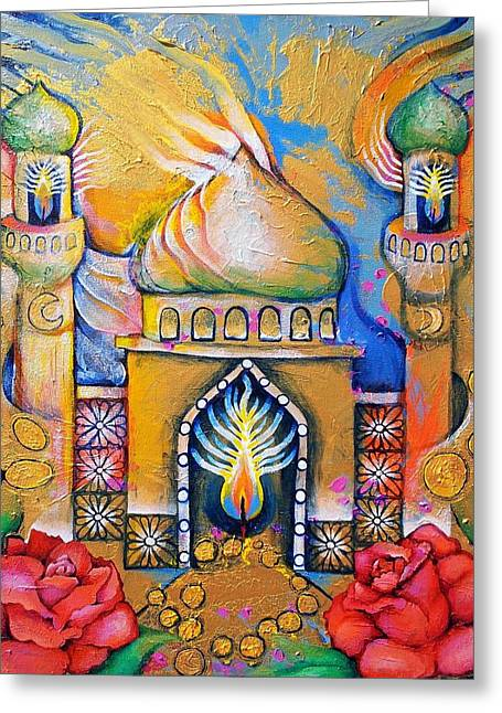 Romany Greeting Cards - Garden Lantern in a Place Where the Mind Travels Greeting Card by Corey Habbas