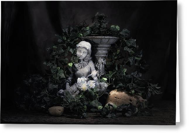 Birdbath Greeting Cards - Garden Maiden Greeting Card by Tom Mc Nemar