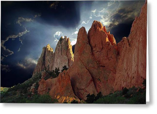 Colorado Mountain Posters Greeting Cards - Garden Megaliths with Dramatic Sky Greeting Card by John Hoffman