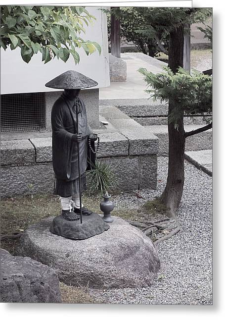 Garden Statuary Greeting Cards - Zen Temple Garden Monk - Kyoto Japan Greeting Card by Daniel Hagerman